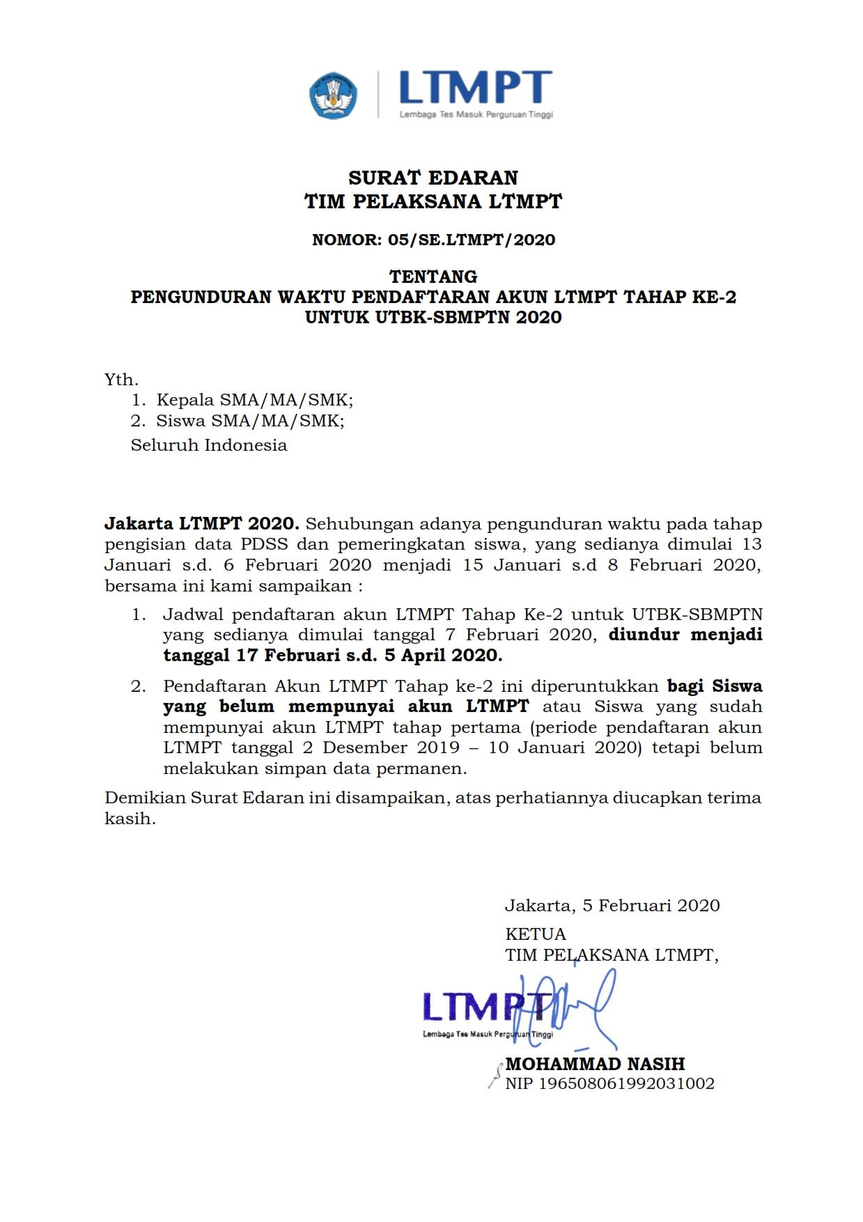 Pengunduran Waktu Pendaftaran Akun Ltmpt Tahap Ke 2 Untuk Utbk Sbmptn 2020 Isi Jogja